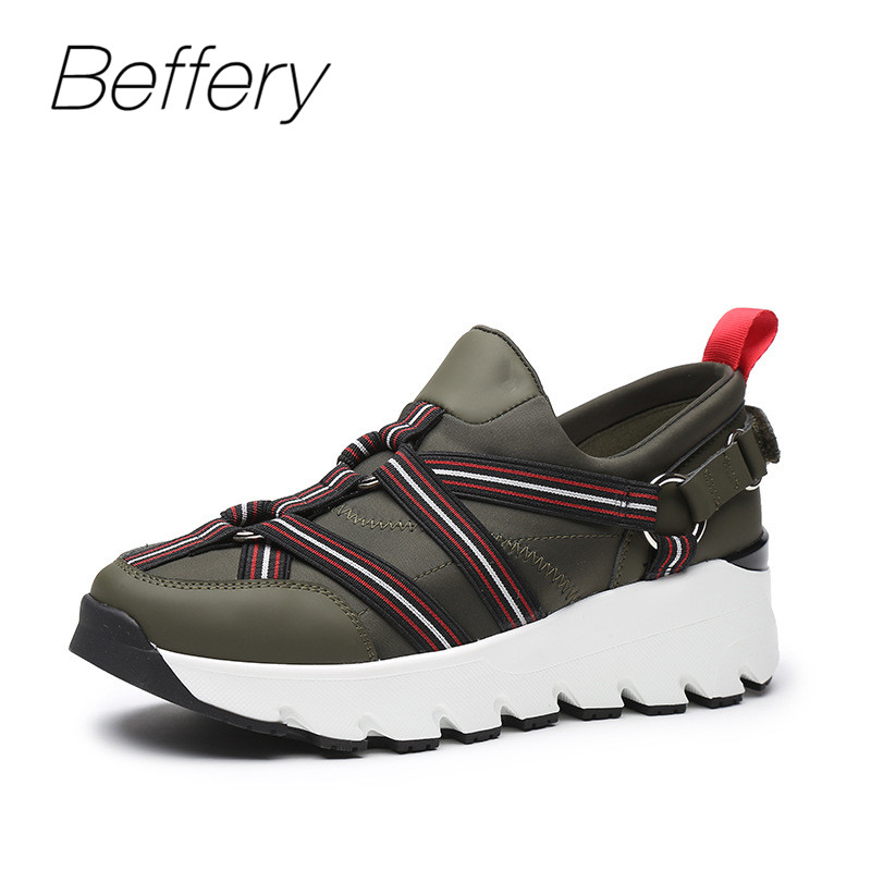 Beffery Spring Genuine Leather Shoes Women Casual Platform Shoes Fashion Ribbon Flats Shoes Women Sneakers asumer white spring autumn women shoes round toe ladies genuine leather flats shoes casual sneakers single shoes