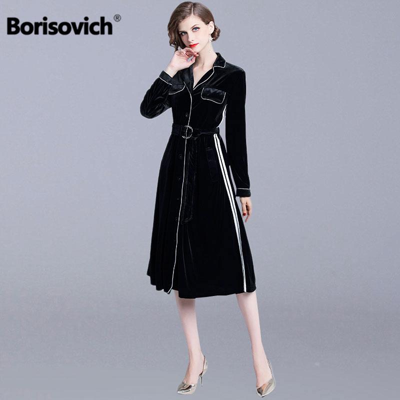 Borisovich Vintage velours femme longue robe nouveau 2018 automne mode angleterre Style v-cou élégant femmes robes décontractées N301