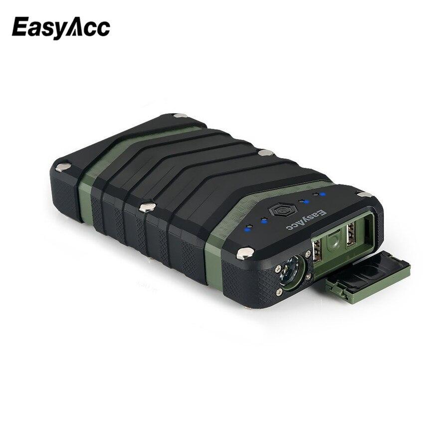 Цена за Easyacc 20000 мАч Запасные Аккумуляторы для телефонов портативное зарядное устройство 2USB 18650 Внешний Батарея с фонариком для iPhone 7 6 6 S Водонепроницаемый противоударный