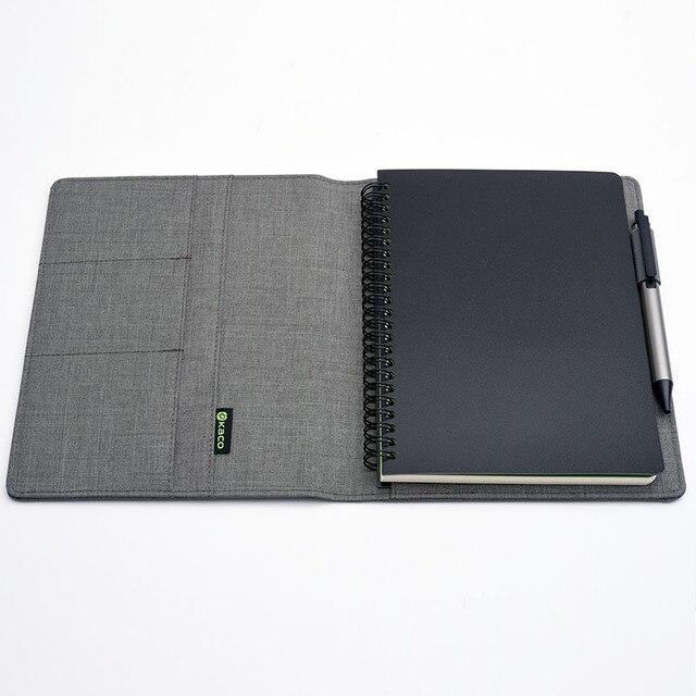 KACO ALIO 블랙 그레이 비즈니스 회의 선물 세트 A5 느슨한 나선형 노트북 개폐식 블랙 잉크 젤 펜 스토리지 패브릭 커버 세트
