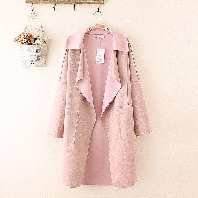 Розовый Пальто для Женщин 2016 Осень Случайный Плюс Размер 3XL отложным Воротником Свободные Широкий талией Длинные стиль Замши Траншеи TY087