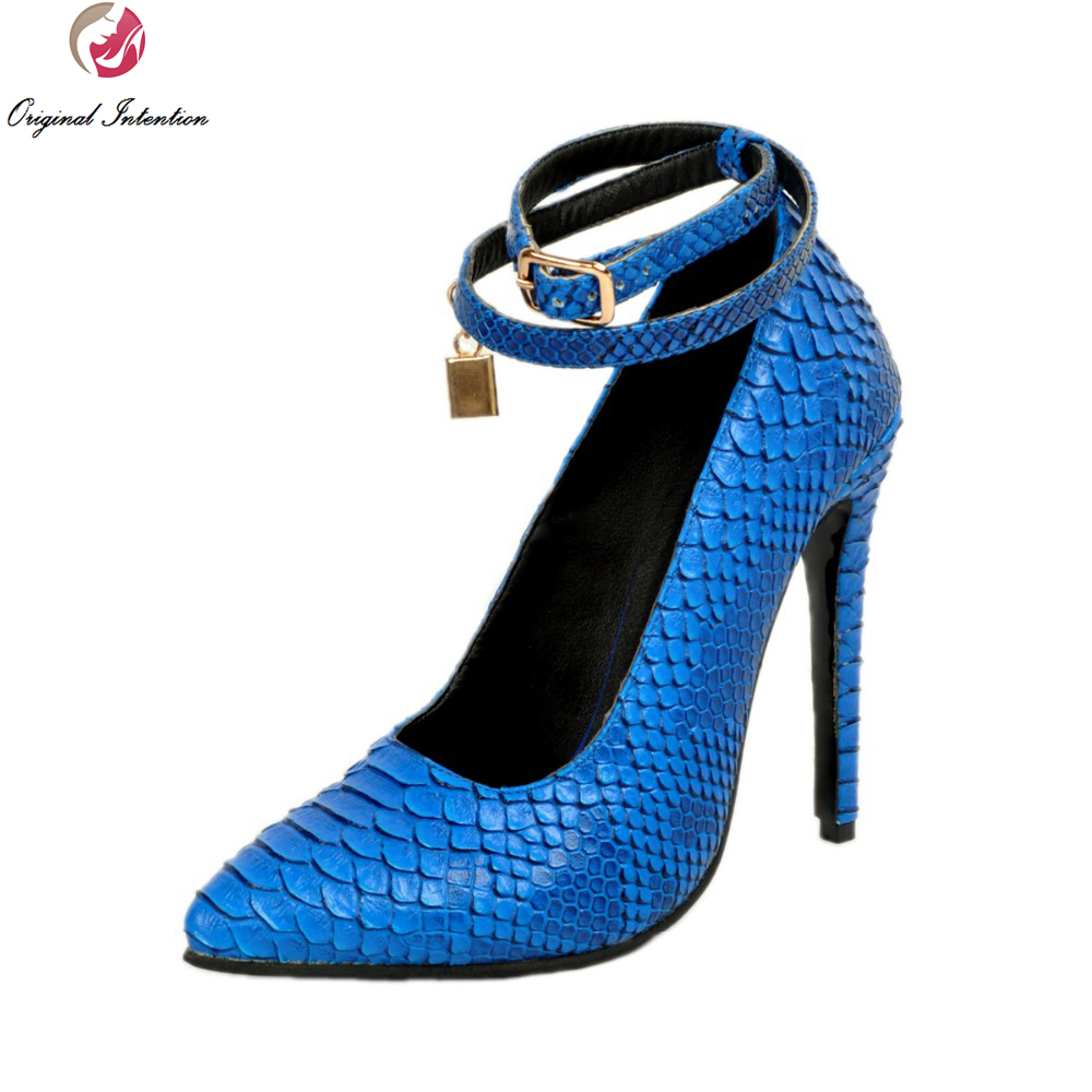 Original Intention New High-quality Women Pumps Fashion Pointed Toe Thin Heels Pumps Elegant Blue Shoes Woman Plus US Size 4-15 bowknot pointed toe women pumps flock leather woman thin high heels wedding shoes 2017 new fashion shoes plus size 41 42