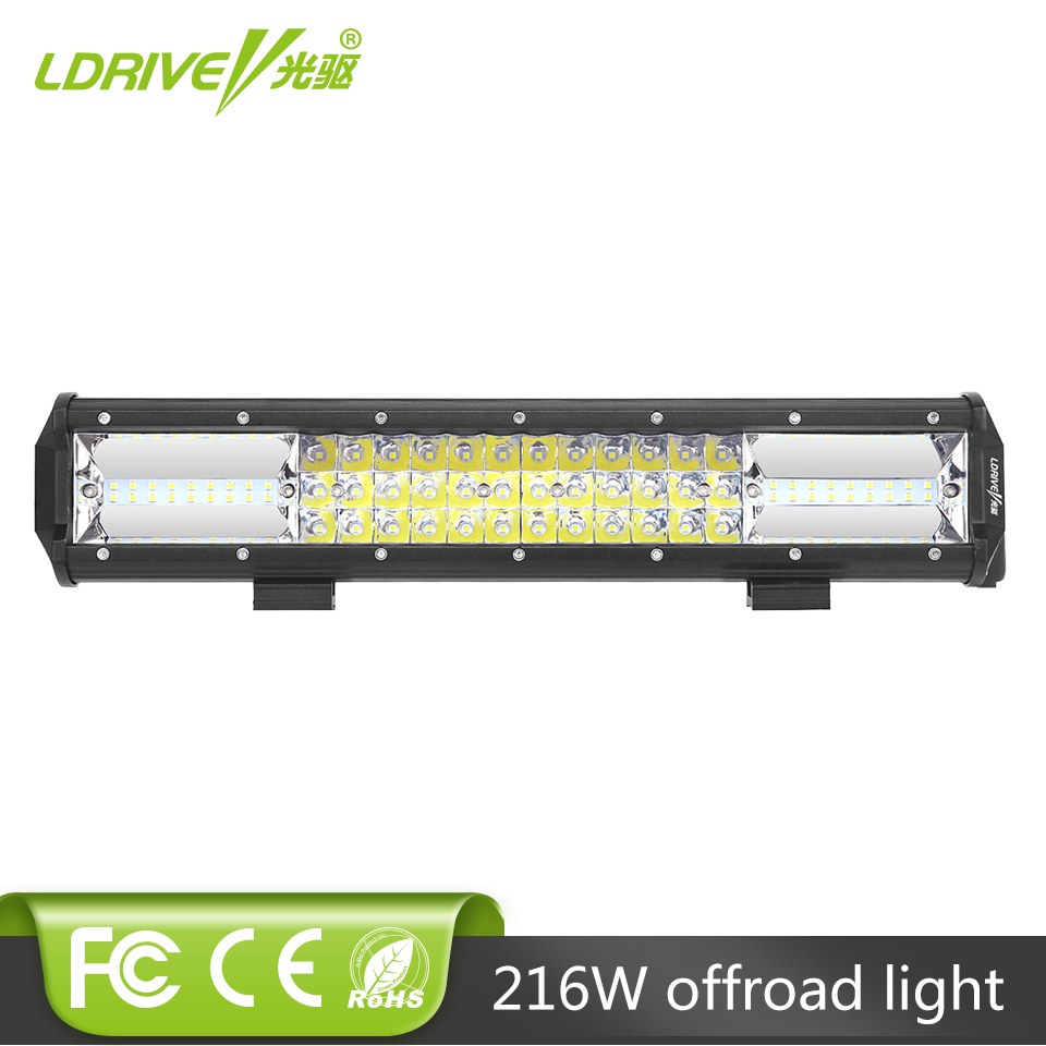 Tri-row 16 Inch 216W CREE Chips LED Work Light Bar Off Road Driving Lamp Combo Beam For Jeep Truck SUV ATV 4x4 4WD 12V 24V Light weisiji 1pcs tri row 252w led light bar with high intensity chips 17inch offroad work light for jeep ford truck ship suv atv utv
