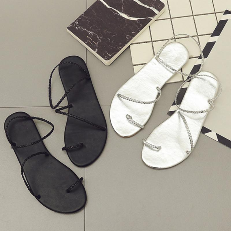 2018 Women Sandals Round Head Comfortable Female Sandals Fashion Wild Sandals new head layer of cowhide flat bottomed lady sandals with relaxed and comfortable fashion women s sandals comfortable sandals
