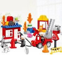 52 SZTUK Oryginalny City Zespół Ratownictwa Pożarowego Duże Klocki Strażak Chłopcy Role Play Zabawki Kompatybilny z Duplo Prezent