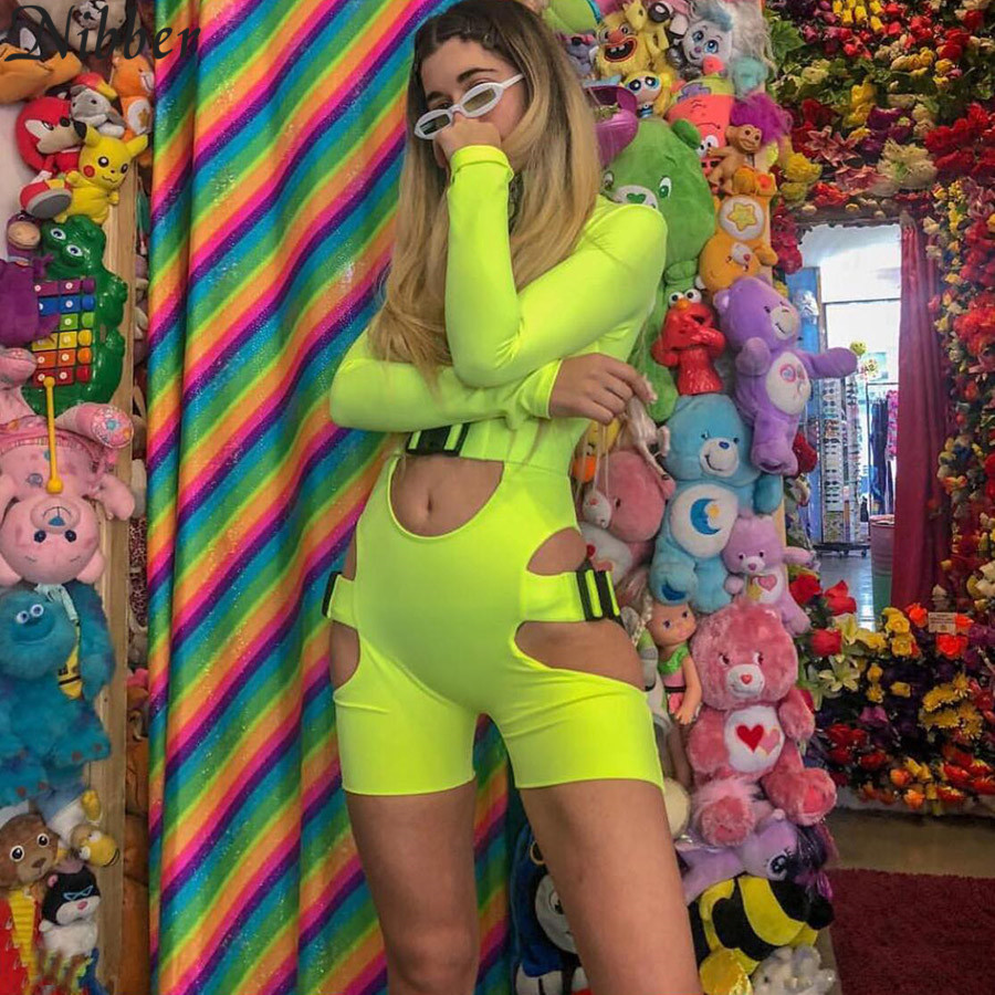 Nibber Sexy Hollow out Fluorescent green women Playsuit Summer hot sale Ladies fashion Bodysuit black Zipper buckle   Jumpsuit