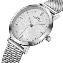 IBSO Top Brand  Womens Watches Fashion Ultra thin Stainless Steel Mesh Strap Quartz Clock Hours Ladies Watch Relogio Masculin