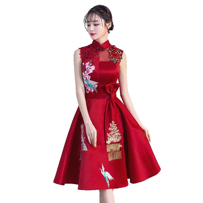 Burgundy Embroidery Elegant Sexy Chinese Female Cheongsam Dress Vestidos Chinos Oriental Wedding Gowns Party Dresses Size XS-XXL