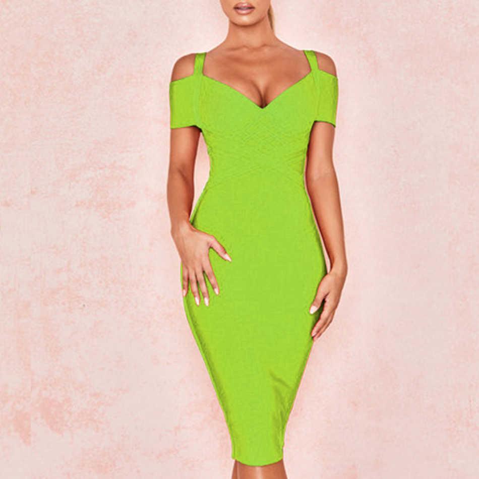 Женское платье с открытыми плечами ADYCE, оранжевое бандажное платье средней длины, подчеркивающее контуры тела, с V-образным вырезом, в стиле звезд, для клуба и вечеринки, для лета, 2019