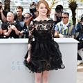 Elegant Black Lace Short Celebrity Dresses 2016 Selena Gomez Red Carpet Dresses Half Sleeves Sash Knee Length Prom Evening Dress