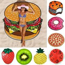 Pineapple Doughnut Pizza Polyester Fiber Beach Towel Tapestry Mat Blanket Decor Beach Textile Decor Drop Shipping(China)