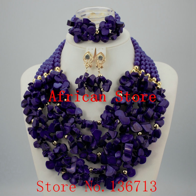 Nigerian Wedding African Beads Jewelry Set Blue African Costume Jewelry Sets Coral Beads Necklace Sets Free Shipping HD330-2 costume african red coral beads necklace bracelet earrings jewelry set nigerian wedding jewelry sets free shipping cj240