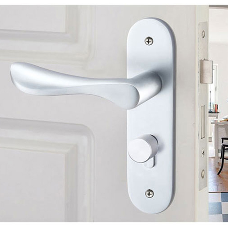 Aluminum Door Lock with Key Door Handles Deadbolt 304 Stainless Steel for Bedroom Room Matte White DLB2031 304 stainless steel door suction contact free touch wall toilet room bedroom anti collision magnet