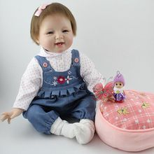 22inch Real Life Reborn Baby Silicone Smile Toddler Girl Kits with Cushion Collectible Toys Gift