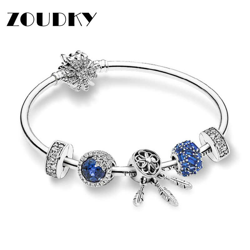 ZOUDKY 100% 925 Sterling Silver Flashing Ice Crystal Winter Bracelet Set Blue Chiselled Elegance Charm Original Fashion JewelryZOUDKY 100% 925 Sterling Silver Flashing Ice Crystal Winter Bracelet Set Blue Chiselled Elegance Charm Original Fashion Jewelry