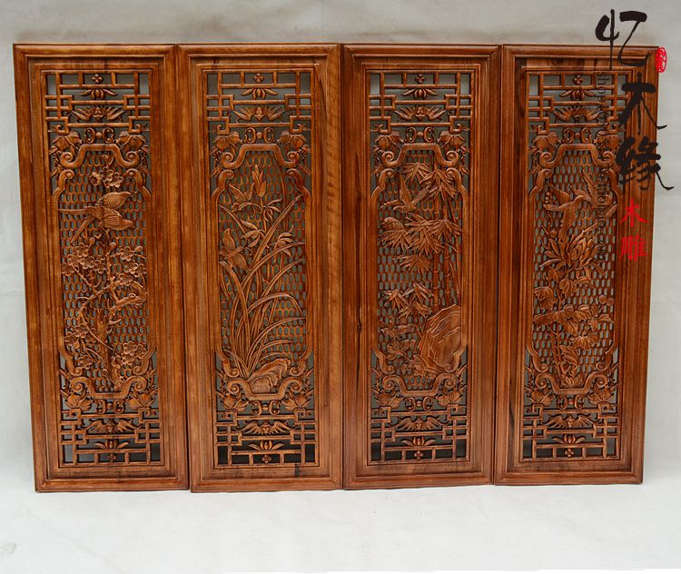 Dongyang wood carving Pendant hanging four screen combination Home Furnishing camphor wood carving crafts Chinese style decorati сетевой фильтр brennenstuhl eco line 3 sockets 5m white 1152920