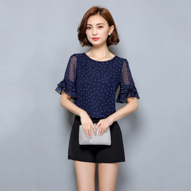 Elegant Women   Blouses   Summer 2019 Short-Sleeved   Blouse   Chiffon Polka Dot   Shirt   Ladies   Shirts   Plus Size Fomal Party Clothing Tops