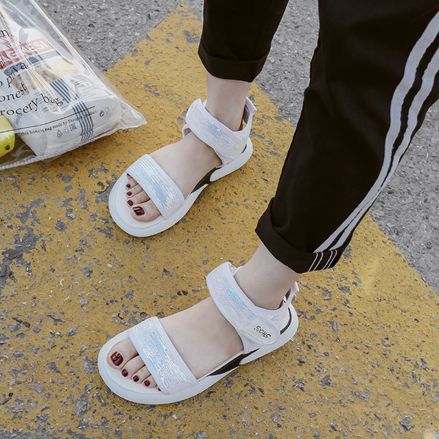16f56dbd9db Fashion Women Summer Open Toe Shoes Bling Hook Loop Platform Women Sandals  Ankle Strap Flat with Wedges Shoes