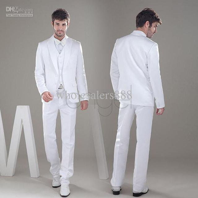 Novo Estilo Branco Do Noivo Smoking de Cetim Material Groomsmen Homens Ternos de Casamento (Jacket + Pants + Tie + Vest) H230