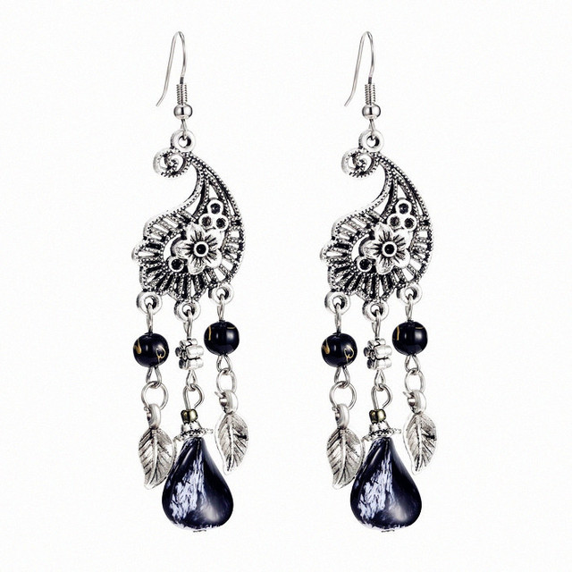 Vintage ethnic style peacock hollow flowers shape bohemian beadwork vintage ethnic style peacock hollow flowers shape bohemian beadwork chandelier dangle earrings for women girl vintage aloadofball Image collections