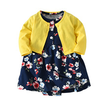 Baby Girl Clothes Kids Clothes cotton Baby Set 2019 spring autumn new  O-neck Print Girls Clothes Long sleeve coat + Dress 2017 new arrival newborn baby boy girl set clothes cotton full sleeve striped hooded coat elephant print o neck romoper pants