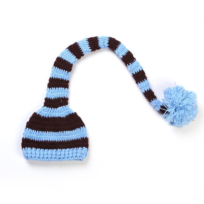 Nyfødt julegave Fullmåne Ullhue Håndarbeid Strikket Langhale Cap - Baby klær - Bilde 5