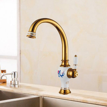 Free Shipping Brass torneira cozinha with porcelain kitchen faucet single handle Gold finish basin sink mixers