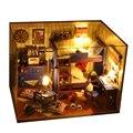 Mini casa de muñecas de juguete para niños muebles de casas de muñecas en miniatura casa de muñecas de madera miniatura bricolaje juguetes hechos a mano regalo de cumpleaños TW4