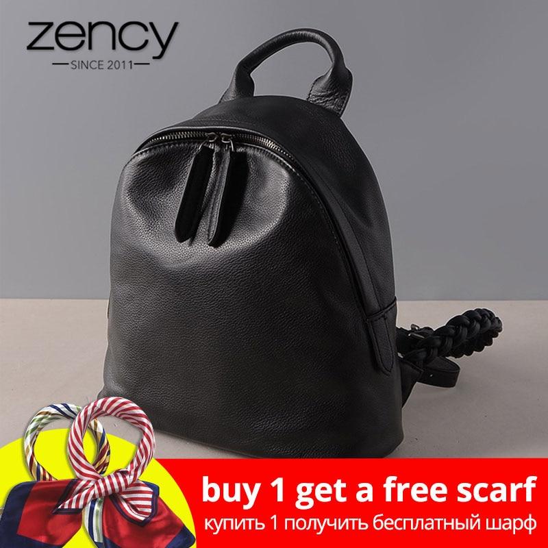 Zency 100% Véritable En Cuir Noir Femmes Sac À Dos Preppy Style Cartable Pour Filles De Mode iPad Sac À Dos Petit Voyage Sacs Satchel
