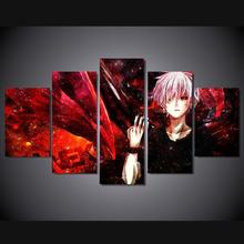 5 Panels Wall Art Anime Tokyo Ghoul Ken Kaneki 5 Pieces Paintings Canvas Poster Unframed