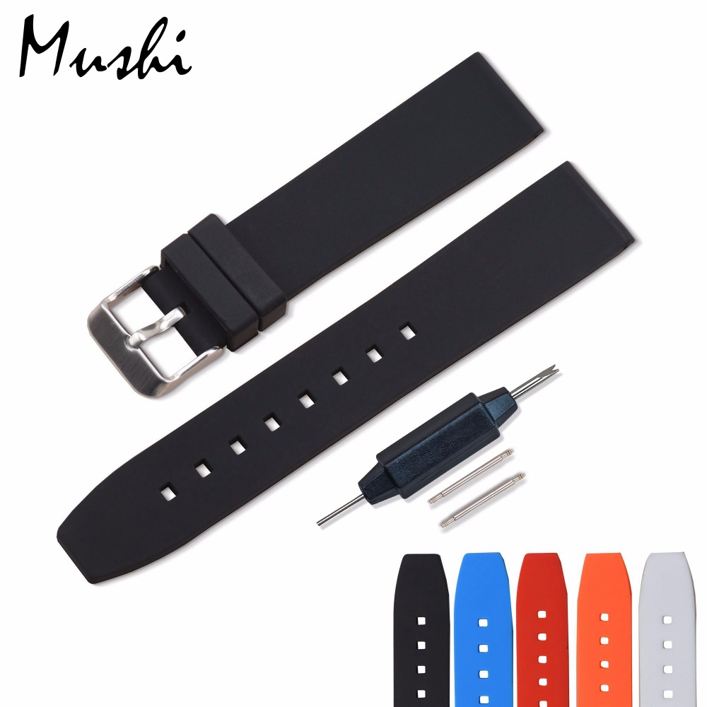 MS Silicone Watchband Black Diver Watch Band Rubber Watch Strap with Brushed Stainless Steel Buckle ճարմանդը 20 մմ 22mm Watch Strap