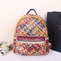 Free shipping Genuine leather sheepskin multicolour woven bag backpack Woven bag