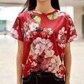 Alta qualidade 2017 nova camisa do verão t abelha bordado impressão o pescoço casual misturas de Algodão mulher marca top vermelho escuro verde Z295