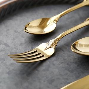 Image 3 - Vintage Western Gold Plated Cutlery 24pcs Dining Knives Forks Teaspoons Set Golden Luxury Dinnerware Engraving Tableware Set