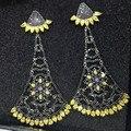 Высокое качество Американской и Европейской роскоши моды Микро Проложили CZ diamond black цветок мотаться серьги Партия ювелирных изделий для женщин