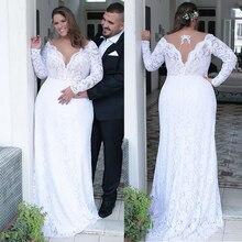 Vestidos de noiva de renda, vestido de noiva de renda para colar, com bainha/coluna, tamanhos grandes com beadings, branco nas costas