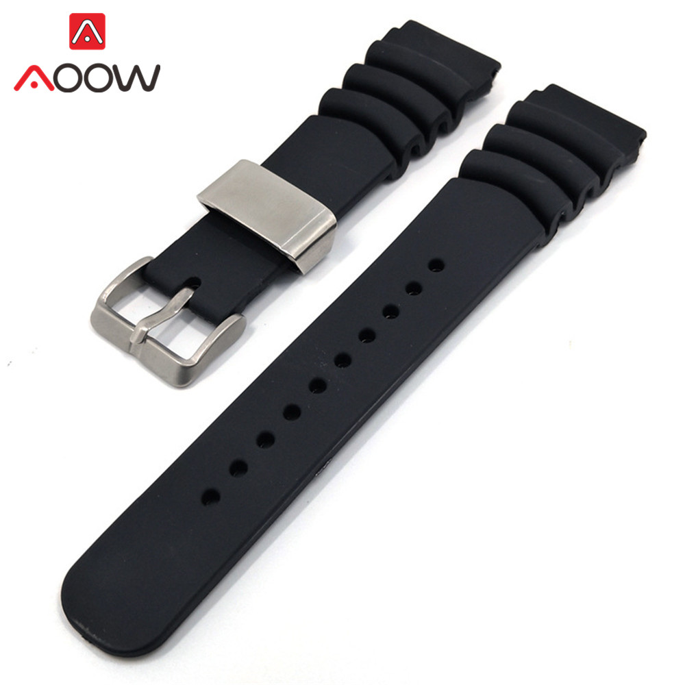22mm 24mm Black Silicone Sport Strap Stainless Steel Rope Holder Men Waterproof Rubber Bracelet Band Watch Accessories