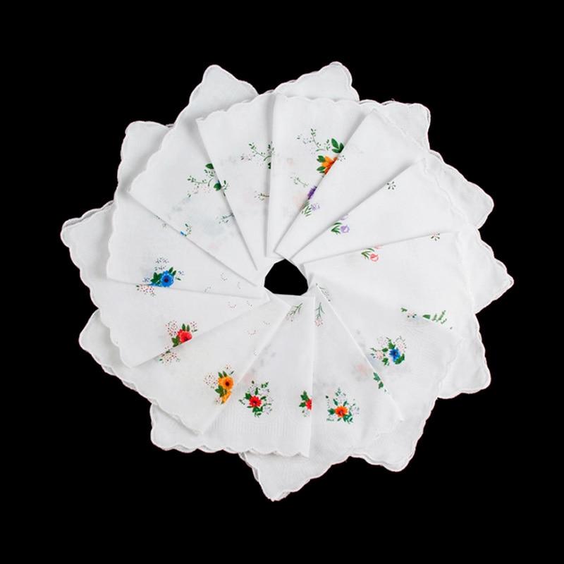 6Pcs Vintage Cotton Ladies Embroidered Lace Handkerchief Women Floral Hanky