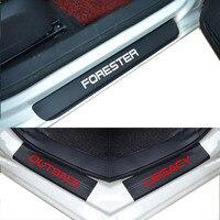 4pcs Set For SUBARU LEGACY Forester Outback Door Stickers Carbon Fiber Car Scuff Plate Sticker Vinyl