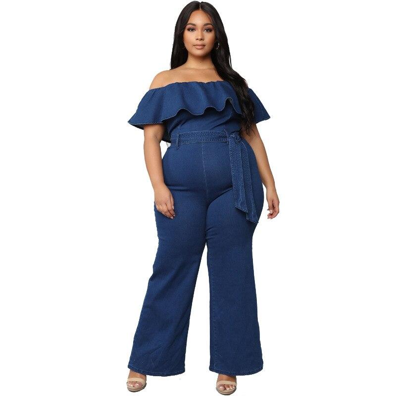 Talla grande slash cuello volantes monos Mujer Pantalones de pierna ancha encaje arriba tops una pieza casual trajes azul cremallera largo conjuntos de 4Xl