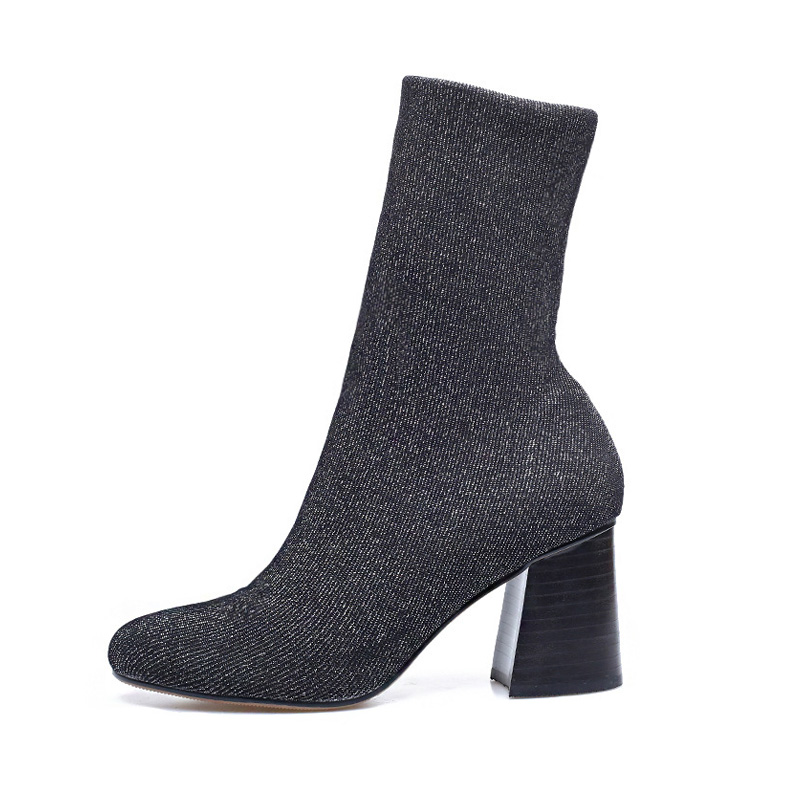 цена на Women Glove Ankle Boot Square Thick Block High Heels Elastic Knitted Silver Stretch Fabric Short Sock Boots Winter Booties Shoes