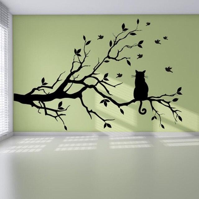 Kembali Shadow Cat Dinding Stiker Kiri Dan Kanan Simetris Keluarga