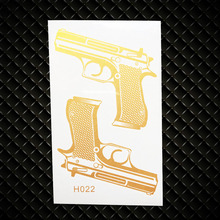 Golden Guns Designs Fake Flash Metallic Tattoo Women Body Art Arm LEgs Tattoo Stickers GGH022 Children Waterproof Tattoo Makeup