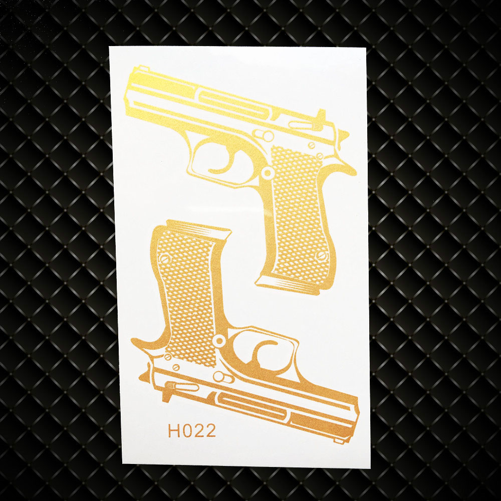 Golden Guns Designs Fake Flash Metallic Tattoo Women Body Art Arm LEgs Tattoo Stickers GGH022 Children Waterproof Tattoo Makeup