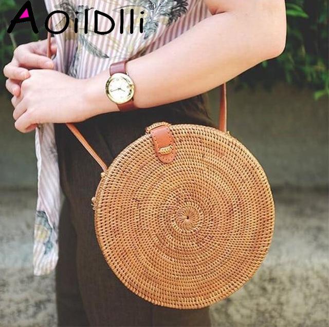 2018 Summer new rattan bag pure handmade Qiuteng basket exotic scenery rattan basket bag 1
