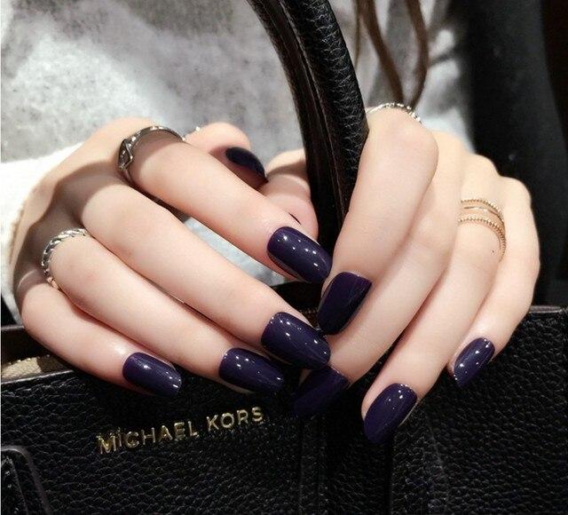Fashion 24 pcs/set Purple Color paragraph fake fingernails false ...