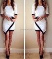 Мода 2016 Новый Женский Платье Повязки bodycon Половина Рукава Дамы Асимметричная Лоскутная Элегантные Платья