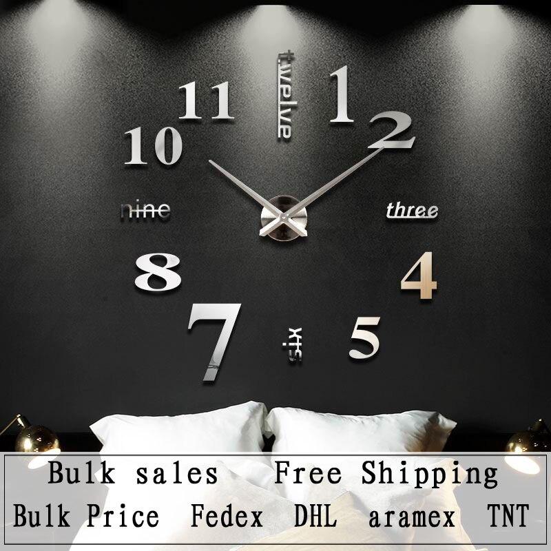 US $312.0 |Decorazione della casa Quarzo grande orologio da parete design  moderno 3D FAI DA TE grandi orologi da parete decorativo orologio da parete  ...