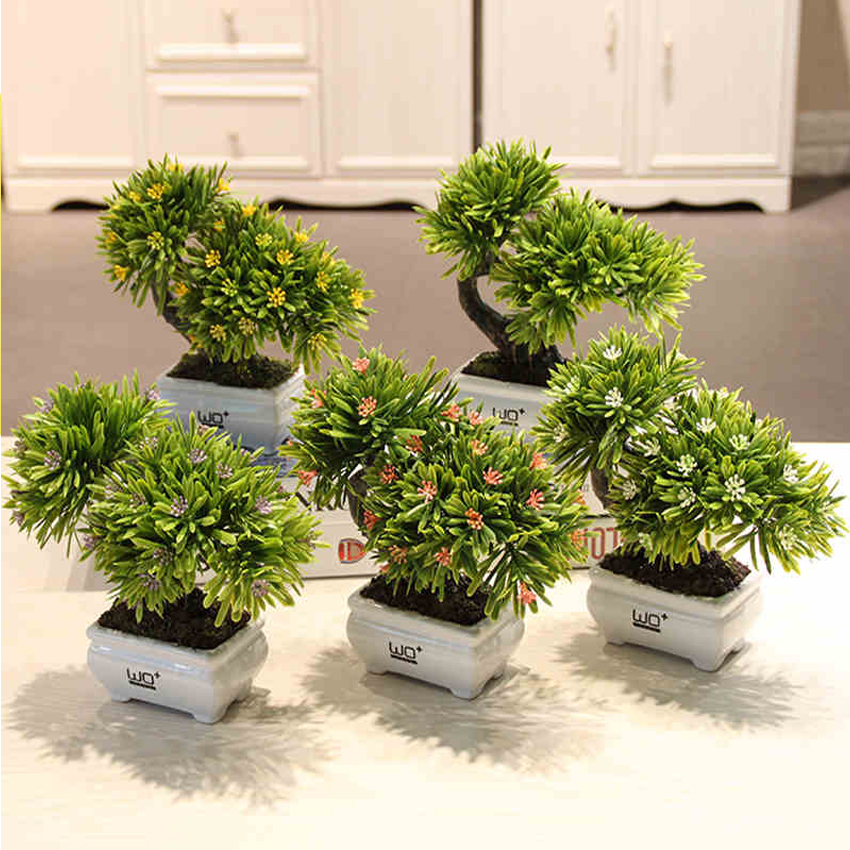 Simulation green plant pot Podocarpus guest greeting pine Plants potted flower art as a whole Adornment is placed Small bonsai in Artificial Dried Flowers from Home Garden