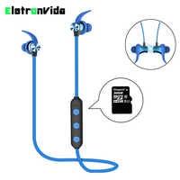 Metal magnético Bluetooth 4,2 Auriculares auriculares deportivos inalámbricos Bluetooth con micrófono ranura para tarjeta de memoria TF